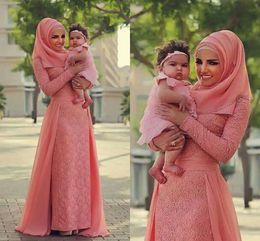 Wholesale watermelon formal dresses - Watermelon Pink Muslim Evening Dresses Chiffon Lace Plus Size Arabic Dubai Long Sleeves Formal Dresses Prom Dresses With Over Skirt