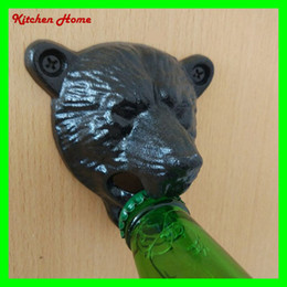 Wholesale Panda Head Design Wall Bottle Beer Opener with Screws Wall Hanging Fixed Vintage Beer Wine Opener Tools for Bar KTV Square Shape