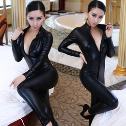 Wholesale Hot Wild Lingerie - Sexy Lingerie Hot Women Prisoners Wild Charm Artificial Pu Leather Teddy Woman Sexy Babydoll Erotic Lingerie Lenceria Costumes