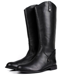 Wholesale Man Riding Boots - 2017 Fashion Black Knee High Mens Boots Genuine Leather Riding Boots Mens Motorcycle Boots Winter Shoes