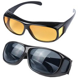 Wholesale Hd Vision Night Driving Glasses - HD Night Vision Driving Sunglasses Men Yellow Lens Over Wrap Around Glasses Dark Driving UV400 Protective Goggles Anti Glare 500pcs YYA222
