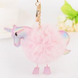 Wholesale Handbags Purses Accessories - Wholesale New Super Cute Unicorn Keychain Fluffy Fur Pompom Pendant Bag Handbag Key rings Accessory Purse Ornament Car Key Rings
