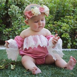 Wholesale Tube Flare - Baby Girls flare sleeve lace romper Infants tube top embroidery lace romper baby photo costume ins hot kids clothing summer outifts for 0-2