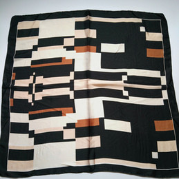 Wholesale Designer Handkerchiefs - 2017 New designer geometric printing women square silk polyester scarf nice handkerchief abstract kerchief 10pcs lot size 70x70cm