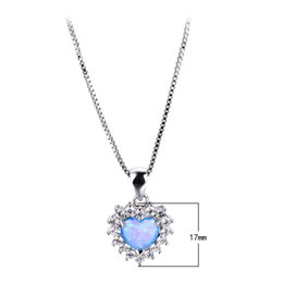 Wholesale Blue Opal Heart - Blue Opal Heart Necklace 925 Sterling Silver Filled Necklaces Pendants For Women New Fashion Jewelry Best Gift