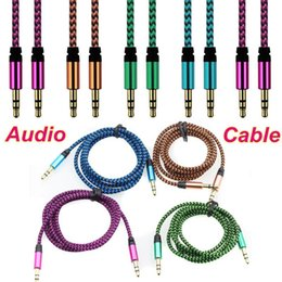 Wholesale Nylon Hdmi Cable - Braid Audio Cable Braided Auxiliary Wave AUX Extension Nylon 1m 3FT 3.5mm Male to Male Stereo Car Cord Jack For Samsung Speaker