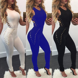 Wholesale tight party jumpsuits - 2017 new fashion Women Side Lace Up Sleeveless Tight Skinny Bodycon Clubwear Playsuit Party Long Jumpsuit Pant