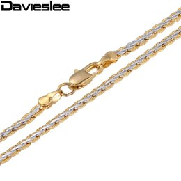 Wholesale Mens Braided Steel Jewelry - Wholesale- 3 4mm Yellow White Gold Filled Womens Mens Chain Unisex Hammered Braided Wheat Link Wholesale Jewelry Gift LGN328