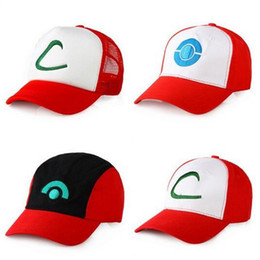 Wholesale Wholesale Adult Sneakers - Poke Hats snapback Flat Ash Ketchum Trainer Hat Fitted Mesh Cap Baseball Ball Caps Fashion Cartoon Trucker Designer Hockey Sneaker Hat DHL