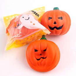 Wholesale Prop 14 - 4sh Creative Squishies Simulation Pumpkin Toys Squishy Slow Rising Decompress Toy Fidget Spinner Vegetables Model Halloween Props 7cm New