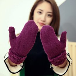 Wholesale Cable Hands Free - Women's Winter Gloves Mittens Gloves Chunky Wool Blend Cable Knitted Mitten Plush Lining Gloves Hand Warmer