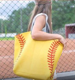 Wholesale Wholesale White Cotton Tote Bags - yellow softball white baseball Jewelry Packaging Blanks Cotton Canvas Sports Bags Baseball Softball Tote Bag KKA1814