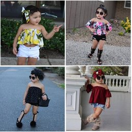 Wholesale Striped Girls Tank Top - Summer Kids Clothing Off Shoulder Tank Tops +Short Pants 2 Pcs Outfits Children Girl Clothing Set