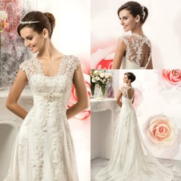 Wholesale Corset Wedding Dress Sheath - 2017 Vintage Lace Country Wedding Dresses Gowns Cheap V-neck Cap Sleeves Beads Corset Back A Line Plus Size Tulle Bride Bridal Gowns BA1991