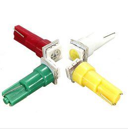 Luces de advertencia verde ámbar online-50 UNIDS T5 5050 1 SMD 1LED Bombillas con Base de Cuña para Tablero de Control Luces Indicadoras de Advertencia Instrumento Blanco Azul Verde Rojo Rosa Ámbar