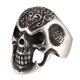 Wholesale Mens Handmade Rings - Black Vinatge 316L Stainless Steel Skull Rock Punk Ring Mens Handmade Carved Ring