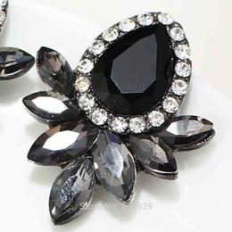 Wholesale Glasses Ear - Women's Fashion Earrings Rhinestone Gray Pink Glass Black Resin Sweet Metal with Gems Ear Stud Earrings For Women Girls E551