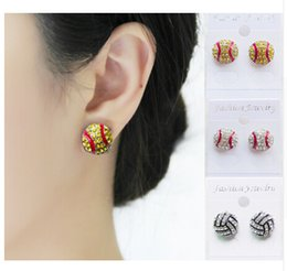 Wholesale Silver Plated Earring Posts - Post Earring Studs Sofball Baseball Basketball Volleyball Soccer Football Cycling Skating Rhinestone Crystal Bling Sports Girls