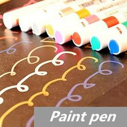 Wholesale Liquid Chalk Pens Wholesale - 8 Pcs Lot Paint Pen Marker Highlighter Pen for Album Foto Scrapbooking Liquid Chalk Pen Novelty Stationary School Supplies