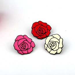 Wholesale Brooch Tips For Collar - Wholesale- 1PC Fashion Cartoon Rose Flower Badges Brooches For Womens Jewelry Acrylic Collar Tips Shirt Lapel Pins Sweater Brooch P1202