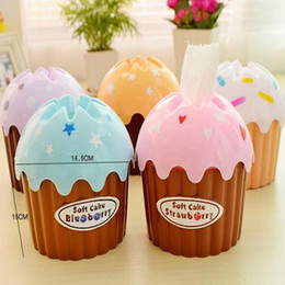 Wholesale Cup Cakes Boxes - Wholesale- 3pcs Tissue Boxes Creative Cute Ice Cream Cake Towel Tube With Bath Toilet Paper Tissue Box Car Kit Toothbrush Cup High Quality