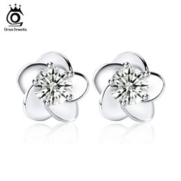 Wholesale Genuine Jewelry Wholesale - Flower Earring,925 Sterling Silver,3 Layer Platinum Plating,Genuine Austria Crystal SWA Elements,Wedding Earring Jewelry OE15