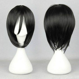 Wholesale Full Attack - 100% Brand New High Quality Fashion Picture full lace wigs>Cosplay Wig Attack On Titan Mikasa Ackerman Short Black Straight Synthetic Hair