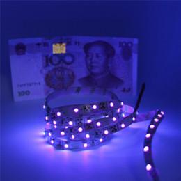 Tira de luz led púrpura 12v online-Tiras de LED púrpura pálido UV 5050 SMD 60led / m DC 12V no impermeable 395-405nm Cinta de tira flexible de rayos ultravioleta Cinta