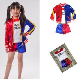 Wholesale Women Wearing Cosplay - Fantasy Girls Halloween Cosplay Costume 3in1 Sets Suicide Squad Harley Quinn Fancy Dress Suit Running Wear