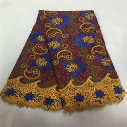 Wholesale Cotton Wax Cords - Top selling latest printed cotton wax with embroidered cord lace edge,Ankara Prints Guipure Lace Fabric For wedding dress 6yd lot B073-03