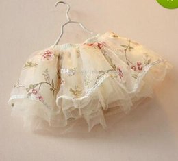 Wholesale Tulle Rosettes Wholesale - Kids girls Print Rosette Floral tutu lace Skirts Baby girl 2016 Spring Summer Tulle Princess A line Dress Children's clothes