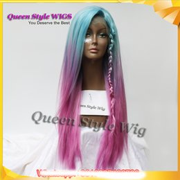 Wholesale long straight red wigs - Pastel Blue Ombre purple Rose Red Color Wigs Long straight Glueless Lace Front Wig Synthetic Mermaid Unicorn Rainbow Color Cosplay wigs
