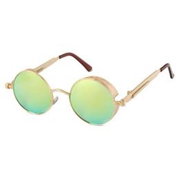 Wholesale Punk Gothic Coat - Vintage Gothic Steampunk Sunglasses Men Coating Mirrored Women Retro Round Circle Sunglasses Retro For Male Steam Punk UV400 For Women
