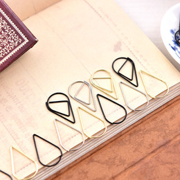 Wholesale Silver Bookmarks Wholesale - Metal Material Drop Shape Paper Clips gold silver color funny kawaii bookmark office shool stationery marking clips