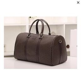Wholesale Hot Trimmed Women - Newest style 2017 hot sell men's classic fashion luggage plaid trim letters printed PU Canvas duffel bag big bag travel bag yzs168