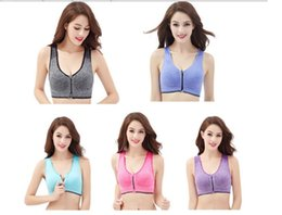 Wholesale Push Up Bra Tank Top - Women Fitness Yoga Sports Bra For Running Gym Padded Wirefree Shakeproof Underwear Push Up Seamless Front Zipper Top BrasSport Tank Tops