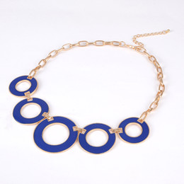 Wholesale enamel link necklace - New Design Fashion Women Beads Enamel Hollow out roundness Chain gold Necklace for women gift #N053