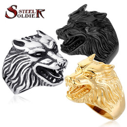 Wholesale Steel Wolf Ring - Steel soldier Drop Ship Fashion Jewelry Super Cool Wolf Rings Stainless Steel Punk Biker Man Ring BR8-075
