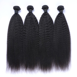 Wholesale afro kinky straight hair - 8A Peruvian Virgin Hair 100% Human Hair Afro Kinky Straight Curl Hair Weave Weft Bundles Extension Remy Quality