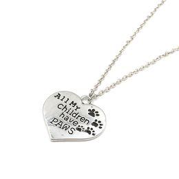 "Wholesale D Pendants - Wholesale 24pcs lot Fashion Silver Plated Loving Heart Necklace Letter ""all my children have paws"" Pendants Charm"