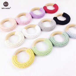 Wholesale Crochet Nursing Toys Wholesale - Wood Teethers Toy Natural Maple wood teething rings 20pc Chunky Crocheted Ring Teething Ring Baby Nursing Necklace Charms
