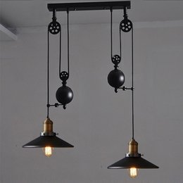 Wholesale Hanging Pulleys - contemporary pendant lamps Rise Fall Lights Kitchen Pulley Lights retro style pendant lamps rise and fall lighting hanging kitchen lamp