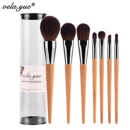 Wholesale Pro Kit Tool Case - Vela .Yue Pro Makeup Brushes Set 7Pcs Travel Face Cheek Eyes Lips Beauty Tools Kit With Case Cruelty Free Technology Collections