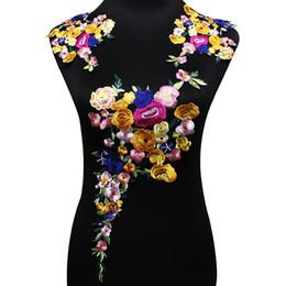 Wholesale Diy Lace Flowers - 1set Embroidery Flowers Lace Patch DIY Clothes Accessories Multicolour Lace Motifs Applique Trim Decorative Fabric T1830