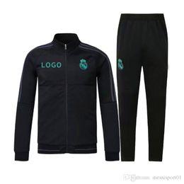 Wholesale Men Winter Jacket Pants - top quality 17 18 Full Zipper Tracksuit Real Madrid Soccer Jacket Jogging Football Tops Coat Pants Training Suit Men Adults Track Suit