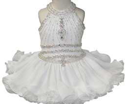 Wholesale Baby Girls White Formal Dress - Baby Girls Halter White Pageant Cupcake Dresses Toddler Glitz Mini Short Birthday Party Gowns Infant Formal Wear Dresses