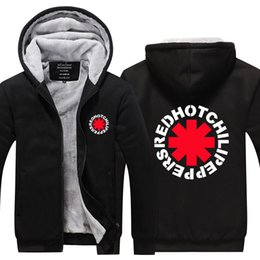 Wholesale Plus Size Rock Roll - Wholesale-Quality Red Hot Chili Peppers Men Hoodies Rock and Roll Thicken Fleece Zip up Mens Jacket USA EU size Plus size