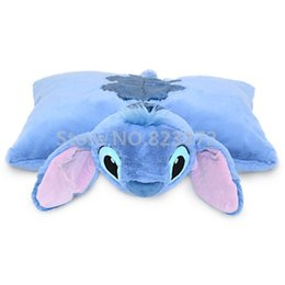 Wholesale Pillow Toy Stitch - Wholesale- Lilo and Stitch Cute Stitch Plush Pillow Folded Transform Cushions Stuffed Animals Soft Toys for Children Kids Gifts 48*45CM