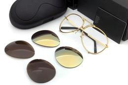 Wholesale Eyeglasses Frameless Men - Brand designer eyewear men women fashion P8478 cool summer style polarized eyeglasses sunglasses sun glasses 2 sets lens 8478 with cases