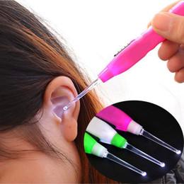 Wholesale Led Flashlight Ear Cleaner - LED Flashlight EarPick Health Ear Wax Remover Tool Cleaner For Baby Care Ear Spoon Flashlight Earpick Non-slip handle Perfect